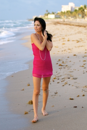 Young woman on a beach in south Florida