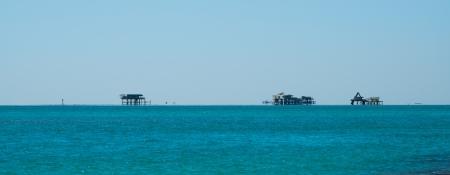 key biscayne: Houses built on stilts off Key Biscayne