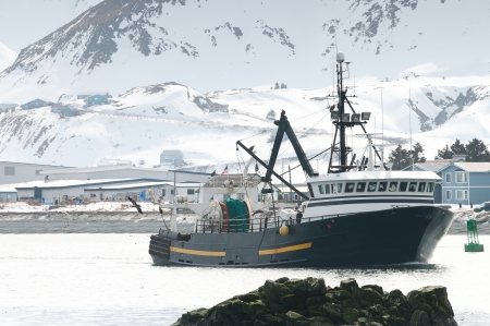A fishing boat on the bay in Dutch Harbor