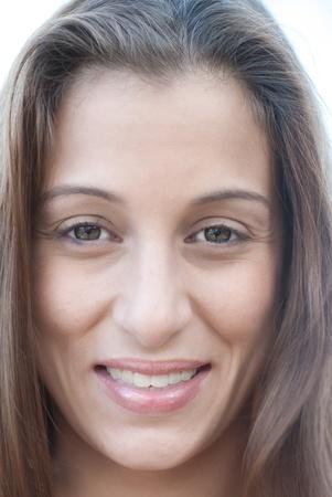 head shots: Close up head shots with brunette model.