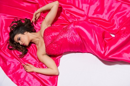 Model in a Red Satin Gown, Studio