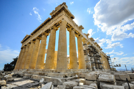 scaffold: Parthenon with construction scaffold