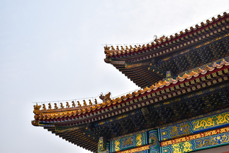 a roof of chinese palace. Editorial