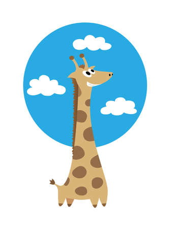 ร   ร   ร   ร  ร ยข  white clouds: Smiling giraffe against blue sky with white clouds Illustration