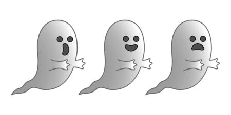 scaring: Three little ghosts expressing three different emotions