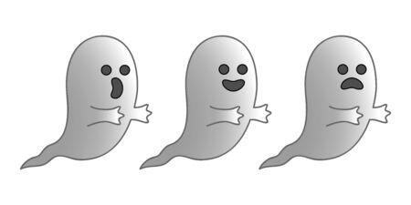 emo��es: Tr�s fantasmas pequenos que expressam tr�s diferentes emo��es