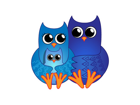 mother and baby: Family of blue owls consisting of mother, father and a baby Illustration