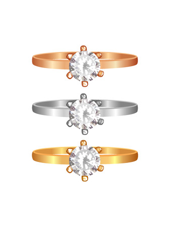 silver metal: Golden, silver and rose golden ring with diamonds