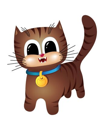 tabby: Brown tabby cat with a blue collar Illustration