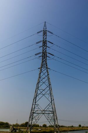 electricity post: electricity post and blue sky in Thailand . Stock Photo