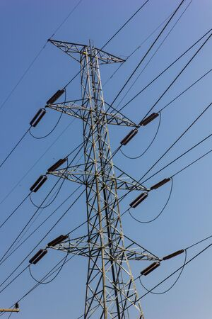 electricity post and blue sky in Thailand . photo