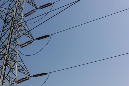 electricity post: electricity post and blue sky in Thailand