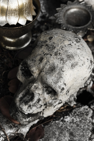 genocide: human bone and skull in the temple  in Thailand .