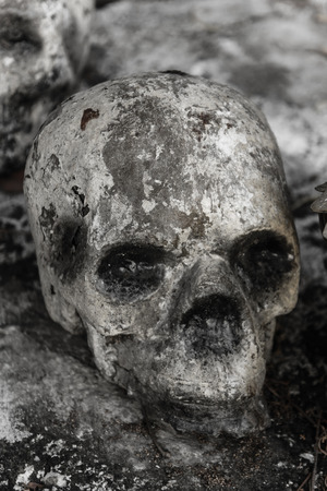 catacomb: human bone and skull in the temple  in Thailand .