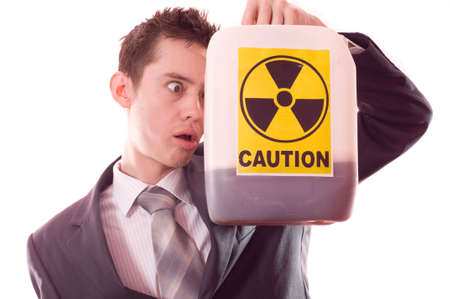 The man with the canister of a poisoning liquid Stock Photo - 5165248