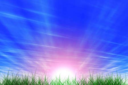 sol naciente: Hierba verde, el azul del cielo y el sol brillante