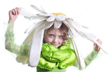 Little beautiful girl in costume camomile