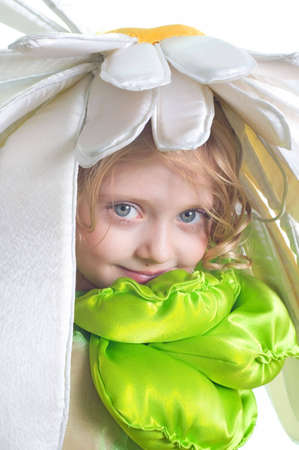 Portrait of the little beautiful girl in a costume Flower