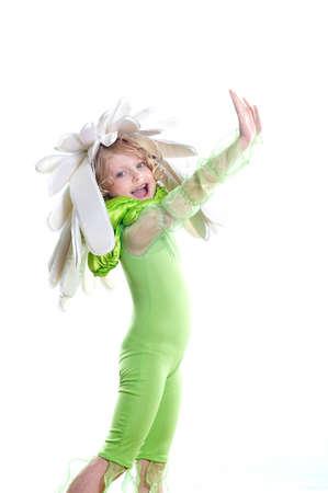 little beautiful girl in a costume camomile