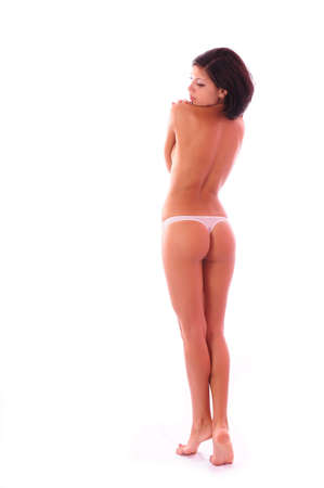 Beautiful woman poses covering itself hands, on a white background, please see some of my other parts of a body images