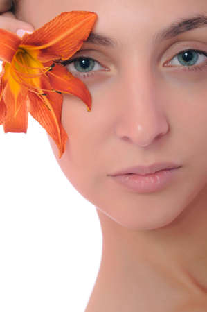 healthy skin of young female face - isolated