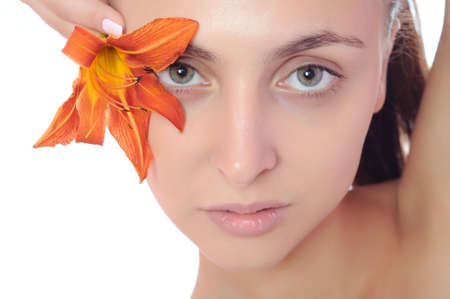 beautiful nice female face with health skin - white background