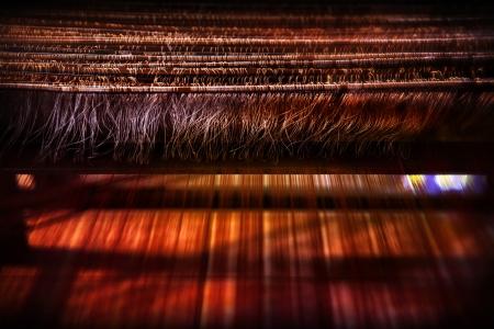 hilo rojo: tejido tradicional de Tailandia, tailandés textil, el algodón y la seda Foto de archivo