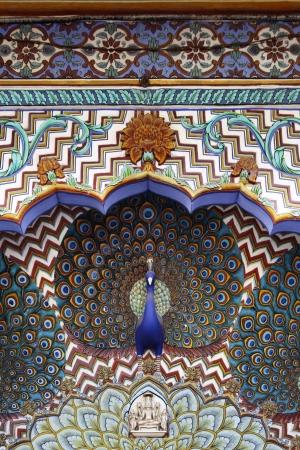 Peacock Gate, City Palace Jaipur, India Stock Photo