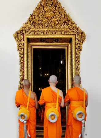 priest's ritual robes: Buddhist monk Stock Photo