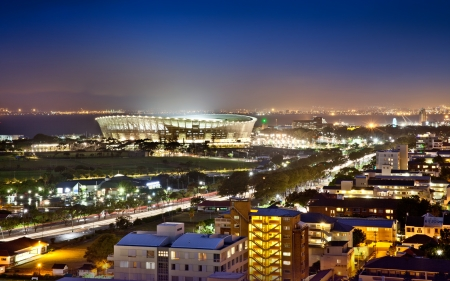 south beach: Cape Town Stadium at night  South Africa