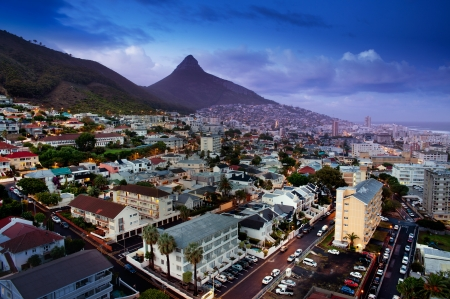 aereal: Cape Town at night  South Africa