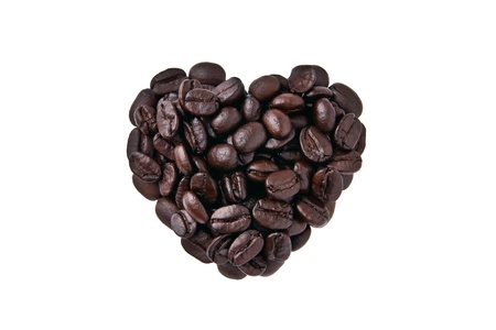 Heart shape by coffee beans isolated on white background Stock Photo - 17447618