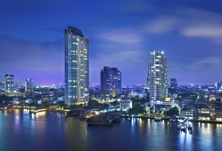 Night Urban City Skyline, Bangkok, Thailand  photo