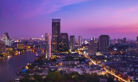 bangkok city: Night Urban City Skyline, Bangkok, Thailand Stock Photo