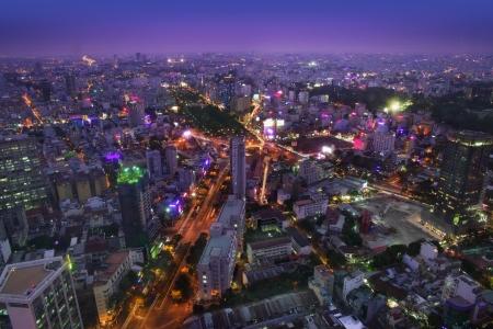 Night Urban City Skyline, Ho Chi Minh City, Vietnam Stock Photo