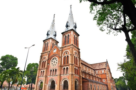 Notre Dame Cathedral with white sky, Ho Chi Minh City, Vietnam