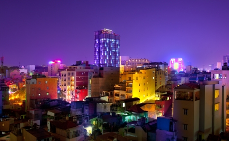 Night Urban City Skyline, Ho Chi Minh City, Vietnam photo