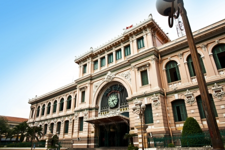 colonial: Post Office designed by Gustave Eiffel, Ho Chi Minh City, Vietnam Editorial
