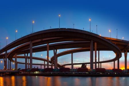 expressway: Traffic in modern city at night, Bhumibol Bridge, Bangkok, Thailand