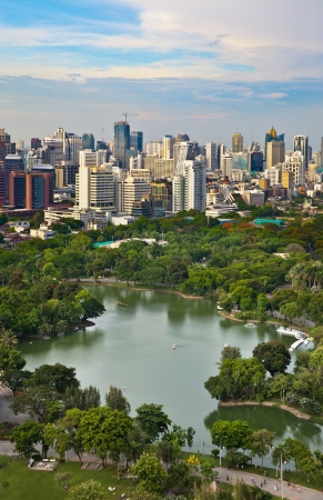 Modern city in a green environment,Suan Lum,Bangkok,Thailand Suan Lum Lumpini Park is green space in Bangkok, Thailand