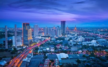 nightfall: Traffic in modern city at night, Bangkok Thailand