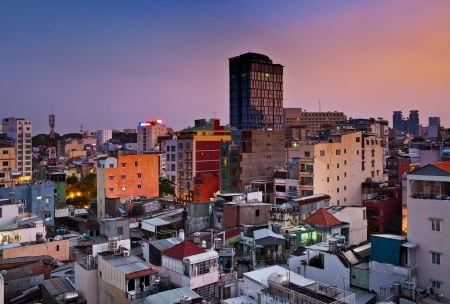 Urban Night City Skyline, Ho Chi Minh-Ville, Vietnam