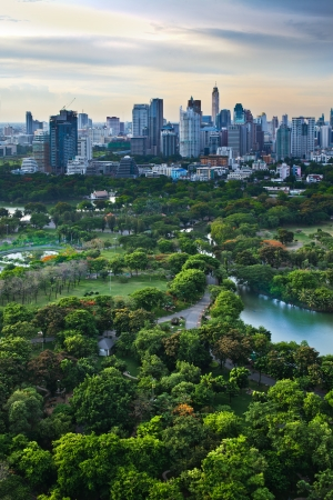 Modern city in a green environment,Suan Lum,Bangkok,Thailand  Suan Lum Lumpini Park is green space in Bangkok, Thailand  photo