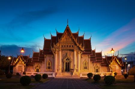 Marble temple  Wat Benchamabophit Dusitvanaram , major tourist attraction, Bangkok, Thailand  photo
