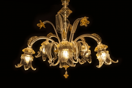 candelabrum: Beautiful chandelier (from Murano Italy) isolated on black background. Murano chandelier glass lighting is made by master glass blowers. Stock Photo