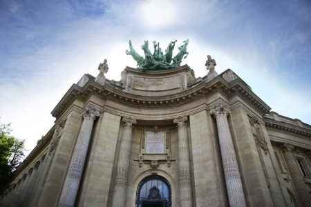 great hall: Grand Palais in Paris, France  The Grand Palais des Champs-Elys�es, commonly known as the Grand Palais  Great Palace , is a large historic site, exhibition hall and museum complex located at the Champs-Elysees  Stock Photo