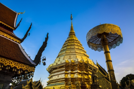 tourist attractions: Buddhist Temple  Wat Phra That Doi Suthep , Chiang Mai, Landmark and tourist attractions in Thailand  Wat Phra That Doi Suthep is Buddhist temple on the mountain and it remains a popular destination for tourists