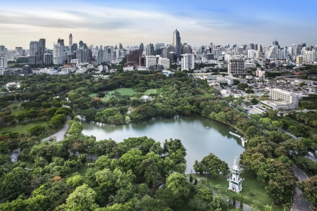 city view: Modern city in a green environment, Suan Lum, Bangkok, Thailand  Suan Lum  Lumpini Park  is green space in Bangkok, Thailand