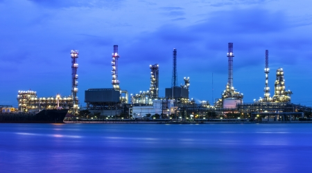 naphtha: Refinery industrial plant at twilight in Bangkok Thailand  Oil refinery industrial plant at twilight in Bangkok Thailand