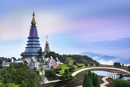 Doi Inthanon, Chiang Mai, the highest mountain in Thailand  Naphamethinidon and Naphaphonphumisiri Pagodas at the summit of Doi Inthanon is a popular tourist destination  Stock Photo